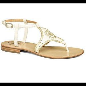 NIB Jack Rogers Maci Sandal Bone/Gold Size 9